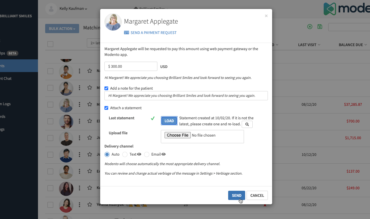 screenshot of sending a payment request in Modento