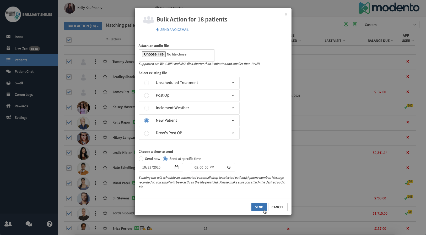 Modento bulk actions let you send voicemail drops to a filtered list of patients all at once, such as a new patient welcome voicemail