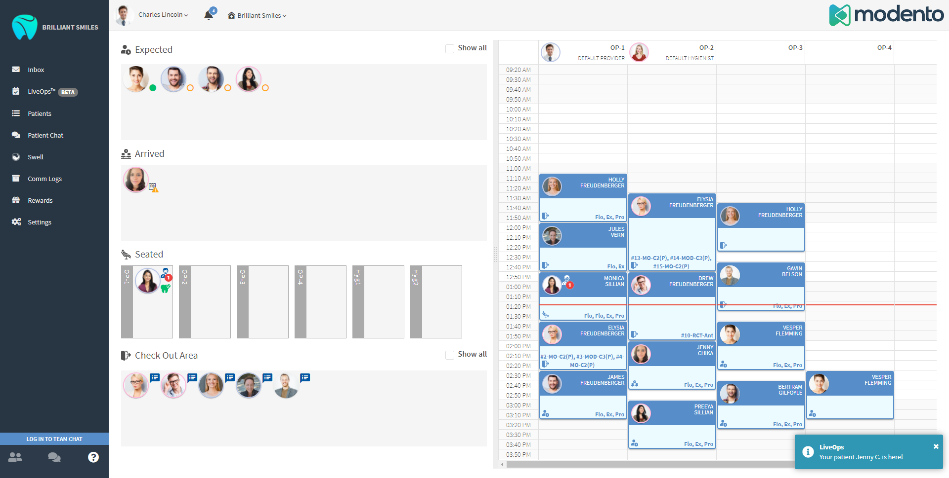 LiveOps module shows when patients have arrived, are seated, and are ready to check out