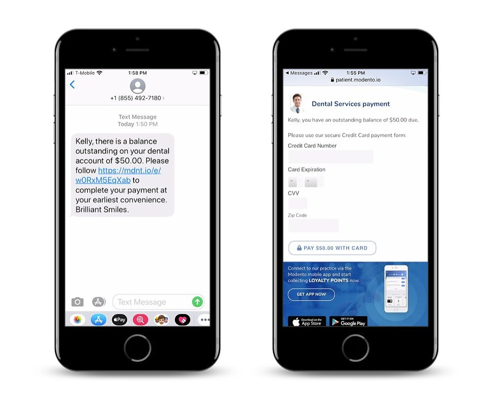 two phone screens, one showing the text a patient receives and the other showing the online payment portal