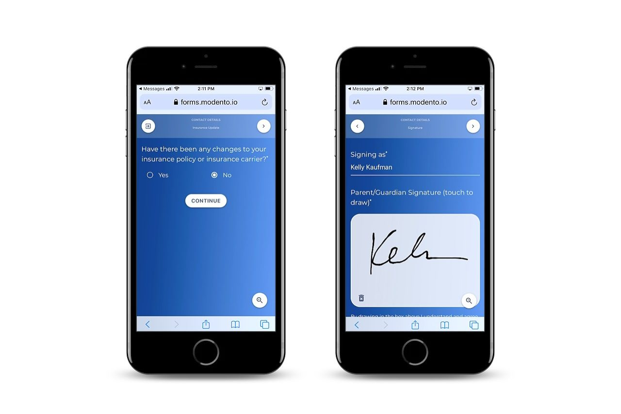 view of what it looks like to fill and sign forms from a mobile device