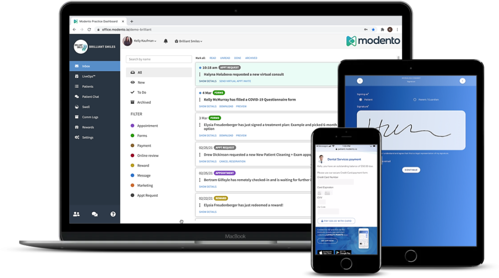 modento being used on a laptop, tablet, and mobile phone